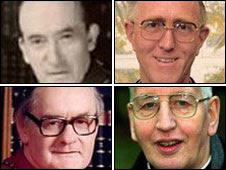 Archbishops of Dublin, clockwise from top right: John Charles McQuaid, Dermot Ryan, Desmond Connell and Kevin McNamara