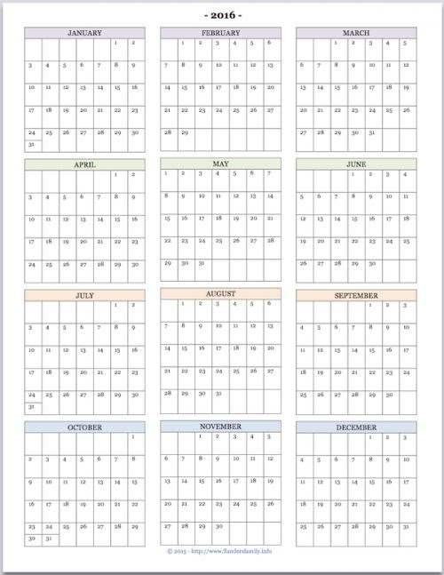 """Free printable """"Year at a Glance"""" calendar for 2016. You"""