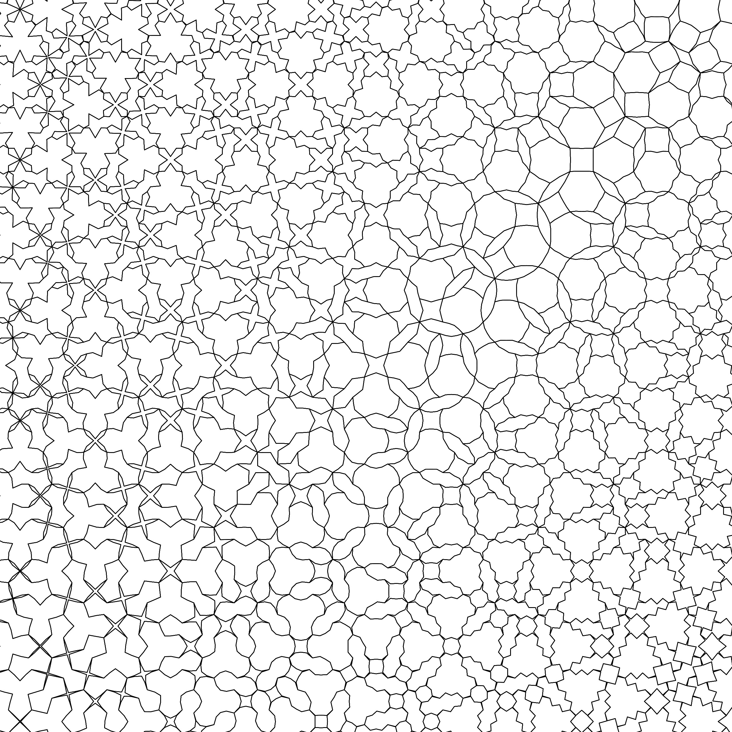 A deformation is a tiling in which the tiles slowly change while keeping the same underlying pattern. The earliest deformations, seen in the work of the Dutch mathematical artist M. C. Escher, morphed in a single dimension: from left to right, or from top to bottom. In this image, the deformation is two- dimensional. Edmund has created four different non-periodic tilings, one in each corner, that morph into each other from left to right and from top to bottom. Deformations are the nearest geometry gets to a