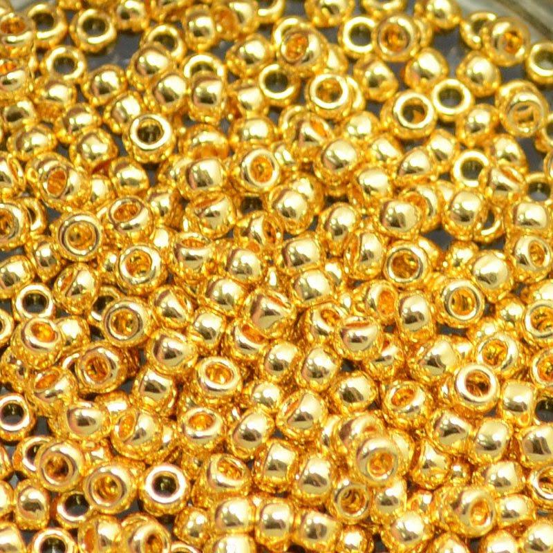 tb8r712 Japanese Seedbeads - 8/0 Toho Seedbeads - 24k Gold Plated (2 grams)