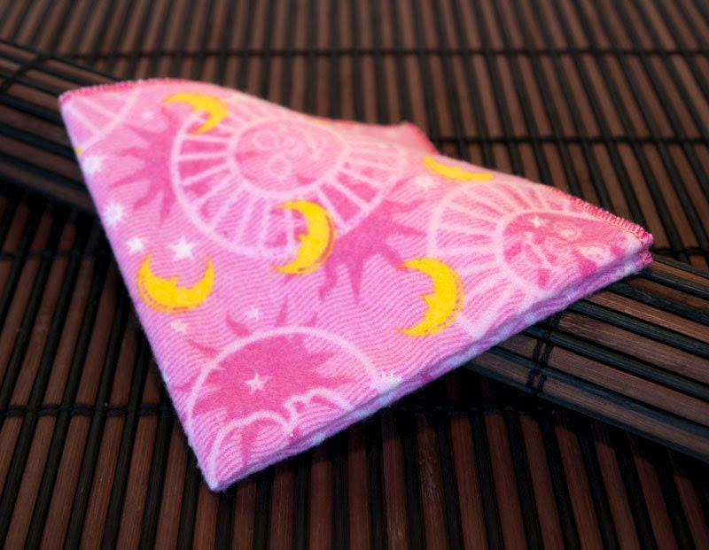 Medium Flankie - Pink with Moon & Stars Flannel Handkerchiefs - Set of 4