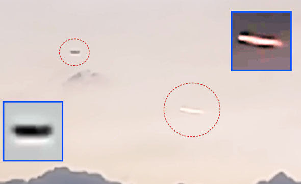 Millennium UFO (right) and what is thought to be a plane (left) over Mexico