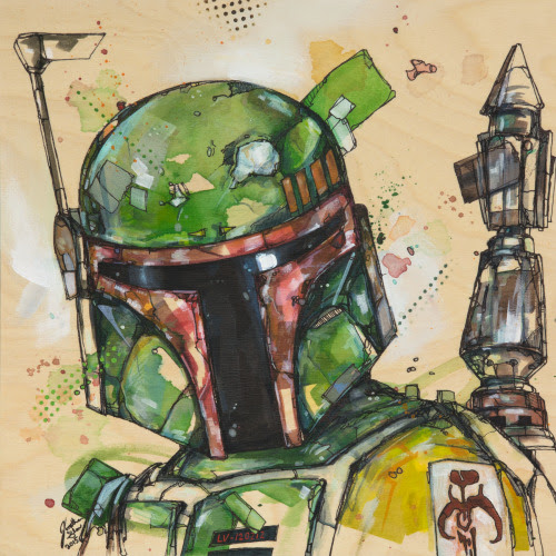 I finished this painting of Boba Fett and I'm rather pleased with it!