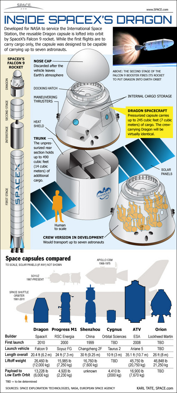 See inside SpaceX's private Dragon space capsule and Falcon 9 rockets in this SPACE.com infographic.