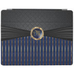 Elegant Black, Navy Blue and Metallic Gold Pattern iPad Cover