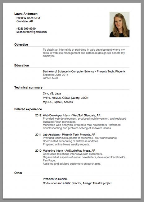 Resume Templates Format For A Job Resume
