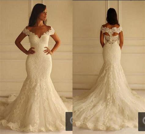 Ivory Lace Mermaid Wedding Dresses 2016 cap sleeve Long