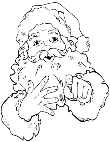 santa claus is pointing finger coloring page  free printable coloring pages