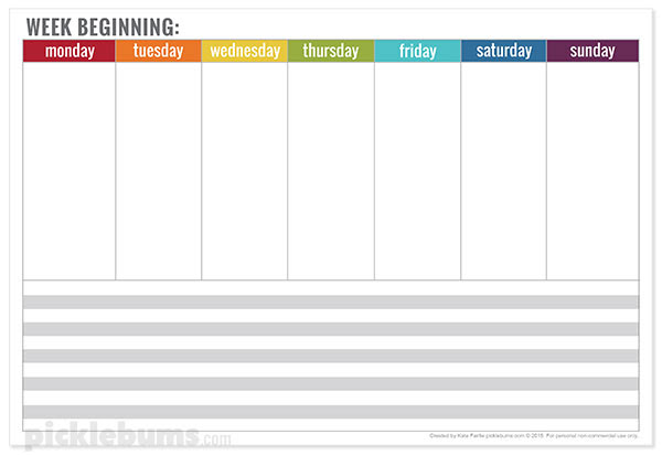 Free Printable Weekly Planner - Picklebums
