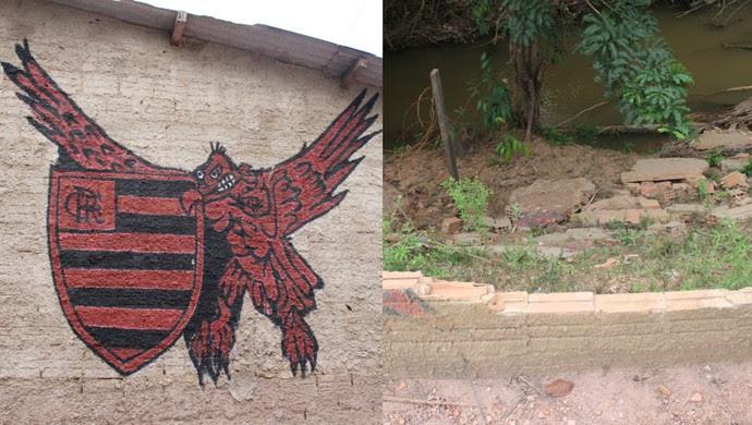 Desenho do Flamengo e muro que caiu depois da cheia do Rio Madeira (Foto: Hugo Crippa)