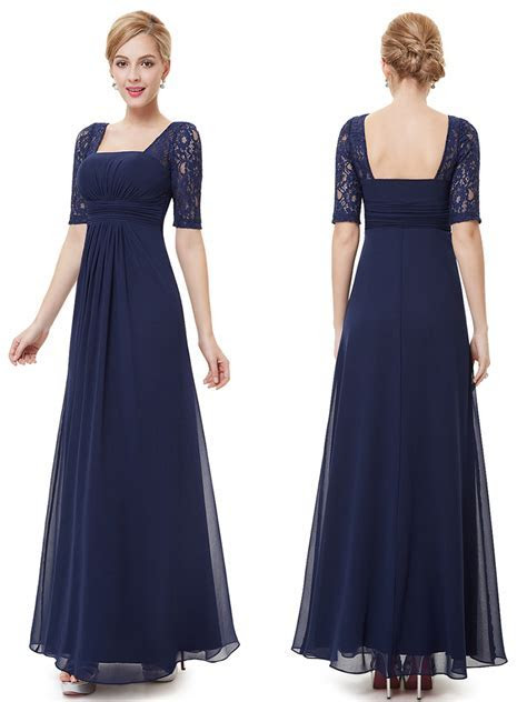 Chiffon Floor Length Half Sleeves Midnight Blue Bridesmaid