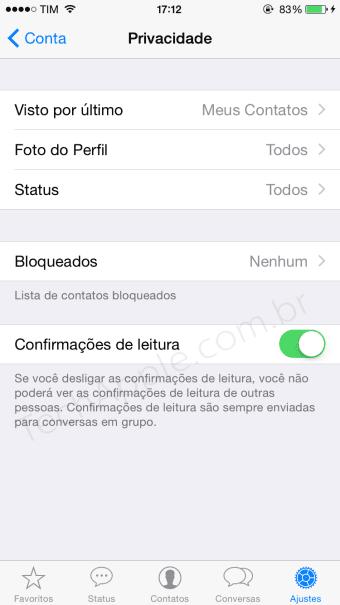"""Como desativar a """"Confirmação de Leitura"""" no WhatsApp - TechApple.com.br"""