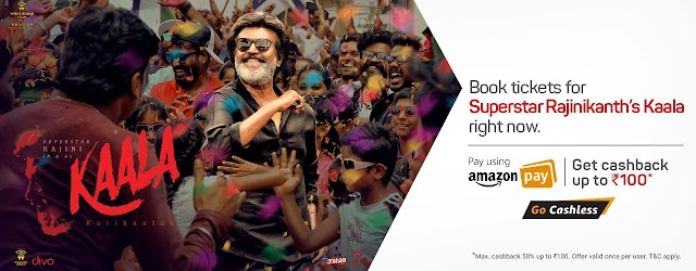 Get 50% cashback on Kaala movie ticket booking on Bookmyshow