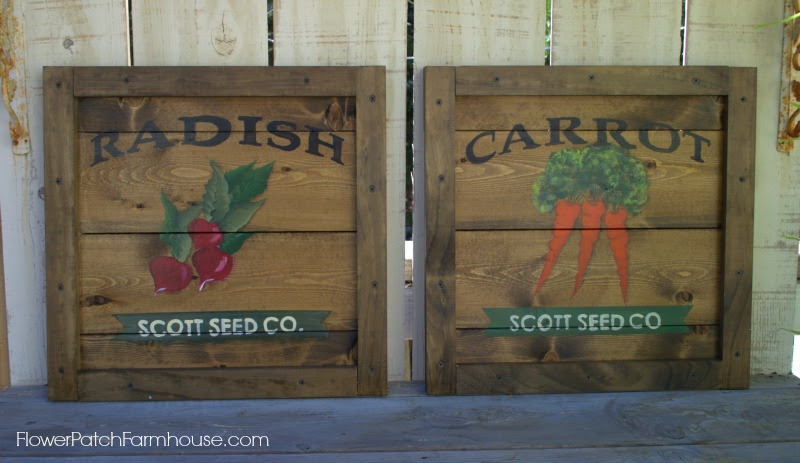 Vintage Crate Seed Packet Sign Art, FlowerPatchFarmhouse.com