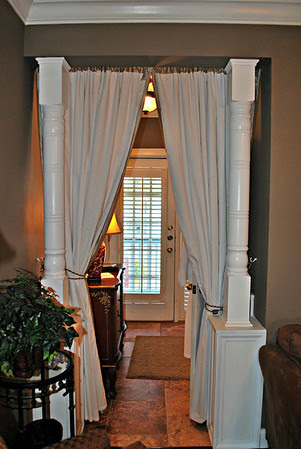 Curtained divider of the entryway at Room #19