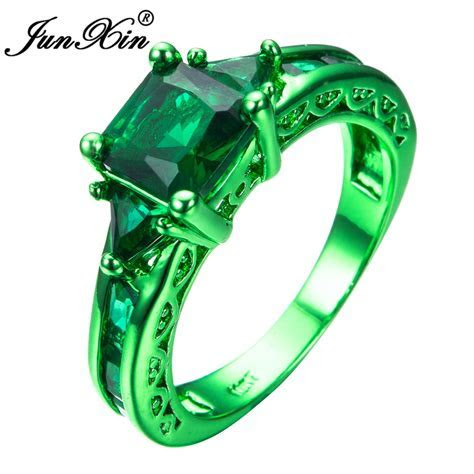 JUNXIN Male Female Geometric Ring Green Gold Filled