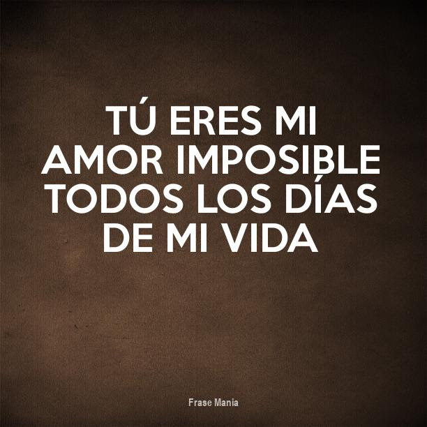 Cartel Para Tu Eres Mi Amor Imposible Todos Los Dias De Mi Vida