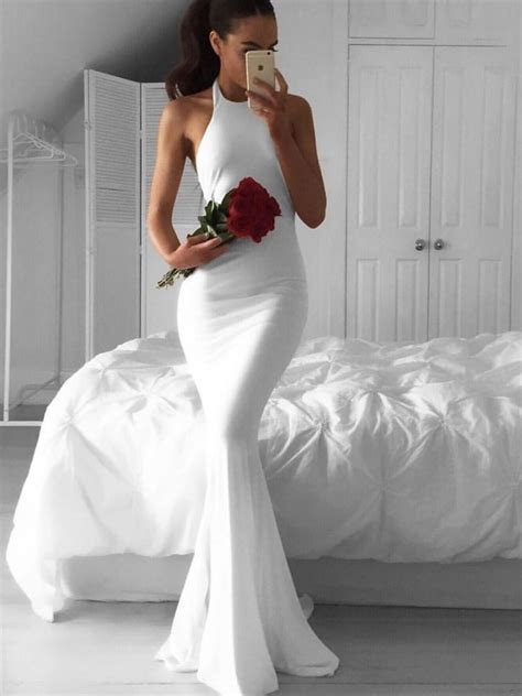 Elegant Halter Mermaid White Long Bridesmaid Dress with Train