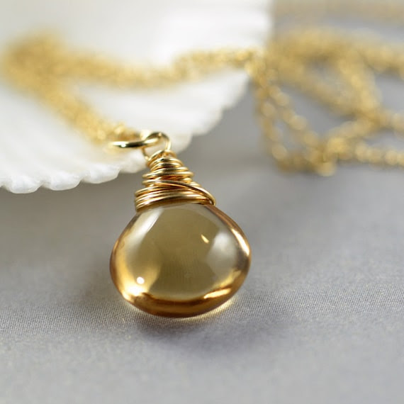 Citrine Necklace Wrapped in Gold Fill Handmade November Birthstone