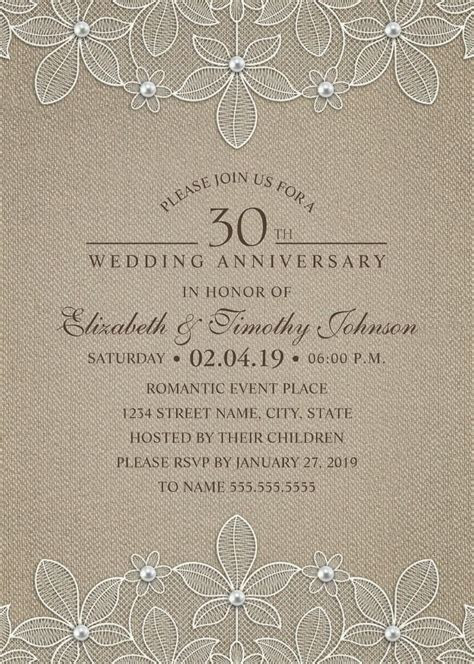 Rustic Burlap 30th Wedding Anniversary Invitations   Lace