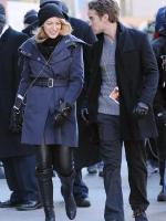 Blake Lively wearing Alice + Olivia Leather Leggings