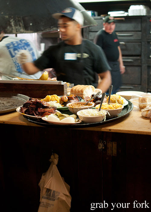 barbecue meats and salads at the salt lick bbq driftwood austin texas