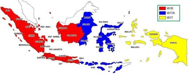 Gambar Gambar Peta Indonesia Pembagian Waktu Mewarnai Pulau Jawa