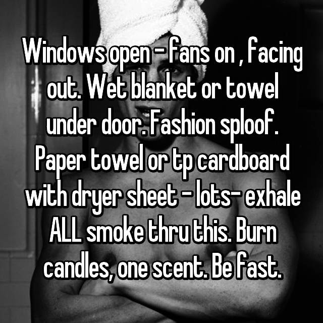 Windows Open Fans On Facing Out Wet Blanket Or Towel Under Door