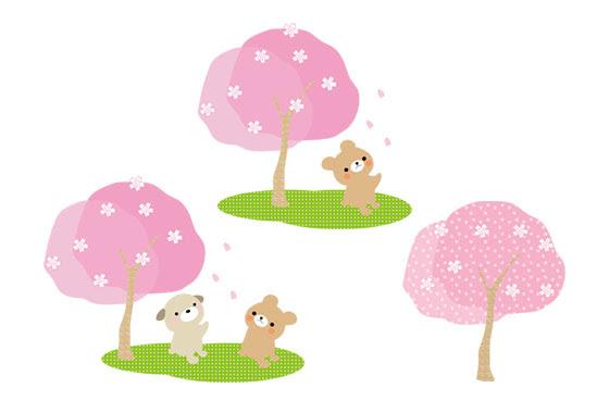 無料素材 満開のさくらとカワイイ動物を描いたお花見のイラスト素材セット