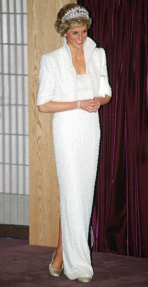 Princess Diana owned and wore this pearl studded dress.