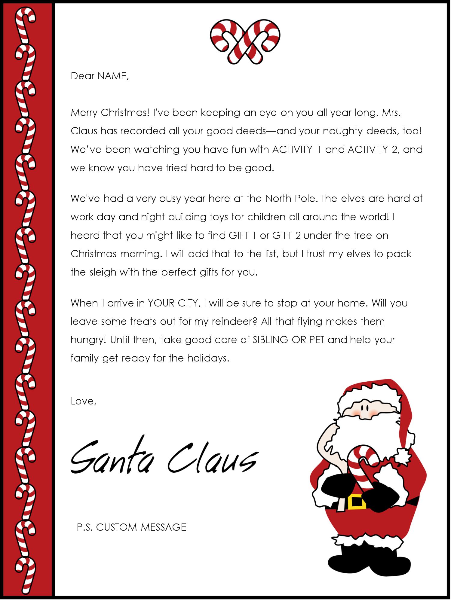 Editable Letter From Santa Template - Letter