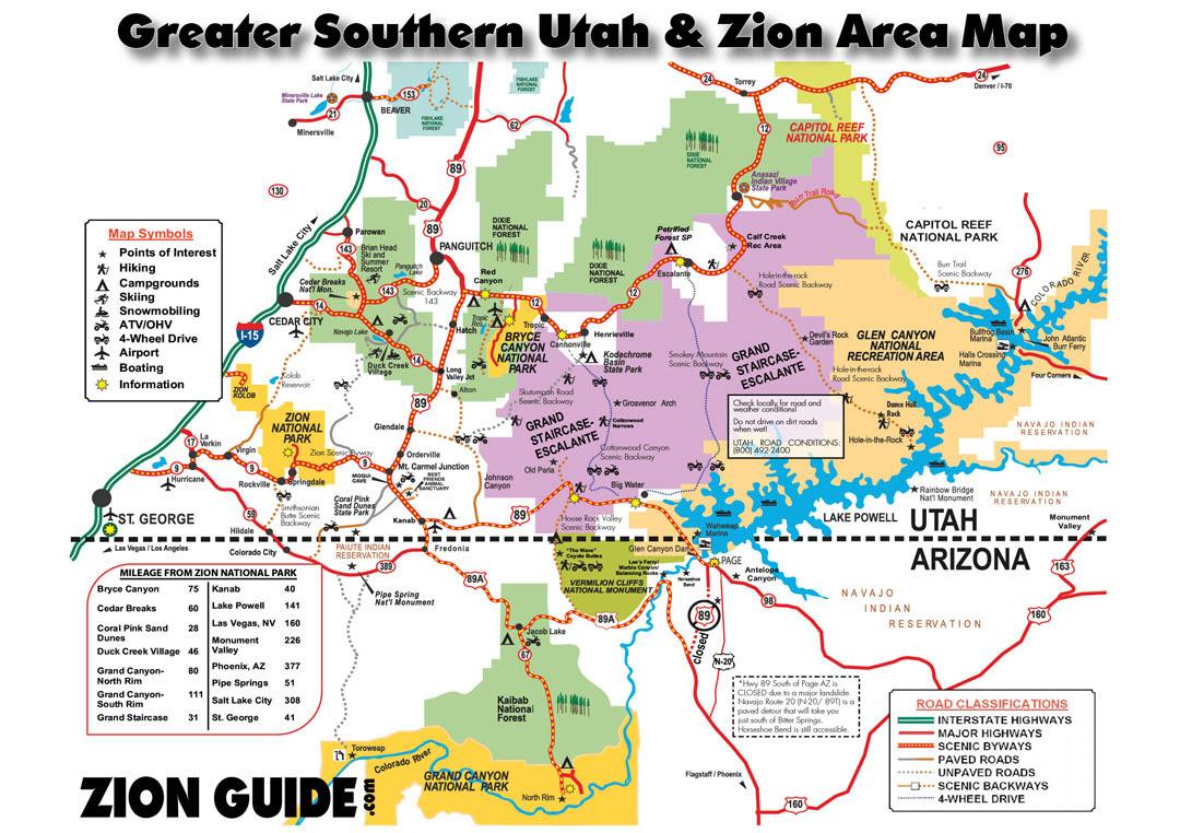 Greater So Utah Zion Map