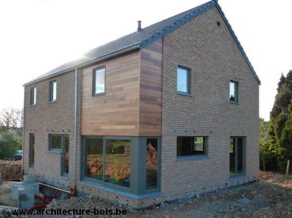 kinderzimmers osb 3 chambres avec briques bardage c dre et ch ssis en bois peint. Black Bedroom Furniture Sets. Home Design Ideas