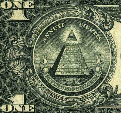 Pyramide mit Rothschilds                             Satanistenauge auf dem 1-Dollar-Schein