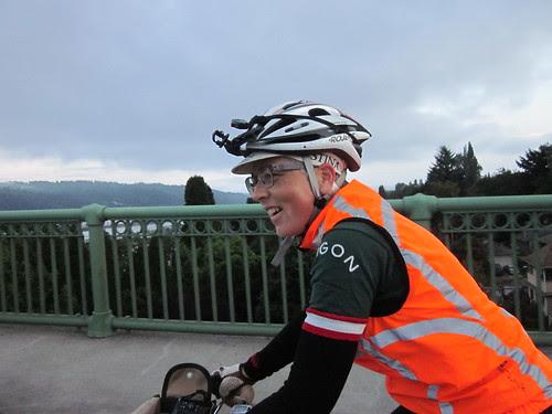 Lesli, crossing the St Johns Bridge
