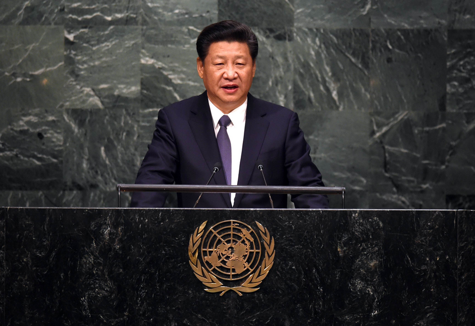 Sept. 26: Chinese President Xi Jinping speaks at the United Nations Sustainable Development Summit during the U.N. General Assembly in New York (Photo: AFP-JIJI)