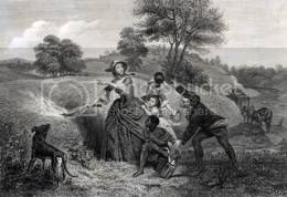 painting of Catharine Schuyler setting fire to her wheat fields