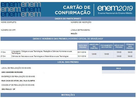 Cartão de confirmação pode ser acessado pelo aplicativo do Inep e pelo site da instituição   Foto: Reprodução/Inep