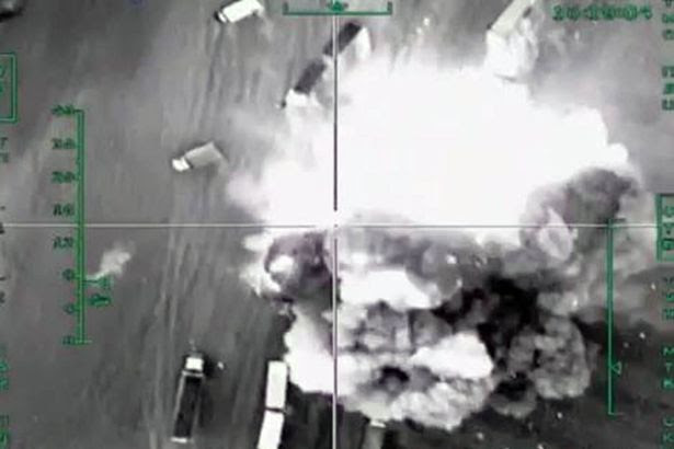 An airstrike by Russian Air Force on a convoy of trucks carrying oil products in the Aleppo Governorate
