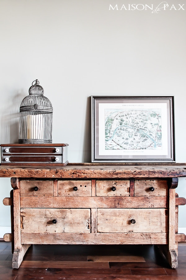 Restored Swedish Workbench....such a great industrial and rustic piece of repurposed furniture! | Friday Favorites at www.andersonandgrant.com