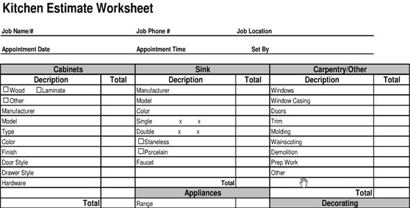Kitchen Cost Estimate Sheet | Kitchen Cost Calculator