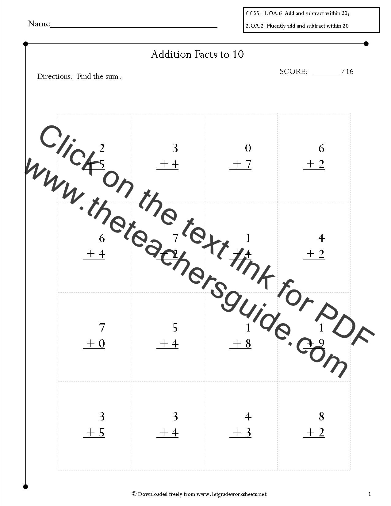 2nd Grade Math Mon Core State Standards Worksheets