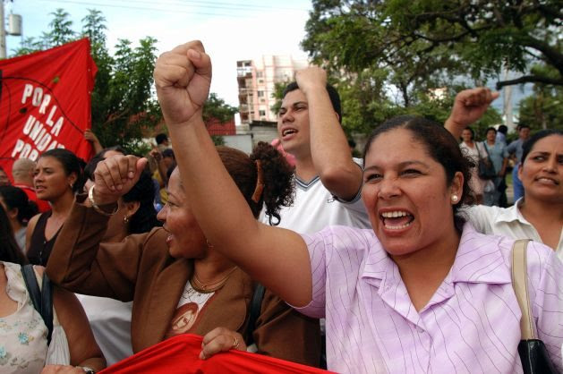 Hondurans protest outside a Tegucigalpa hotel where U.S. and Central American officials were negotiating a regional trade pact. Credit: Paul Jeffrey, Courtesy of Photoshare. #MeToo in the Global Workplace: Time to Connect the Dots