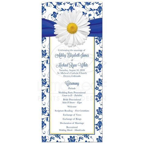 Daisy Wedding Program Royal Blue Floral Damask Ribbon