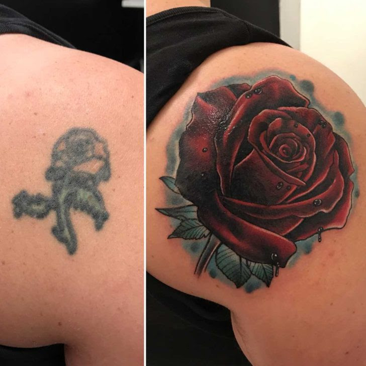Rose Tattoo Cover Up On Shoulder Blade Best Tattoo Ideas Gallery