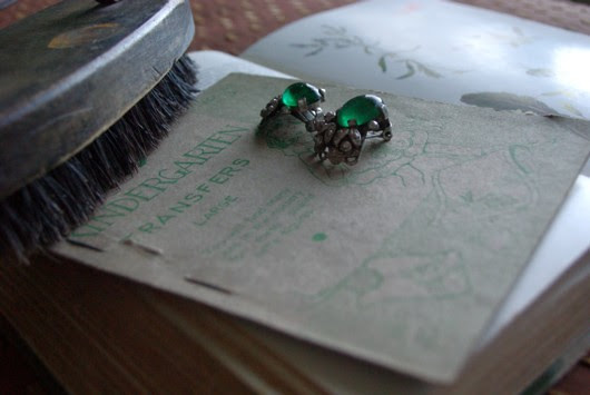 Green glass and marcasite clip-on earrings