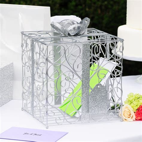 Damask gift box design wire mesh Reception Card Holder