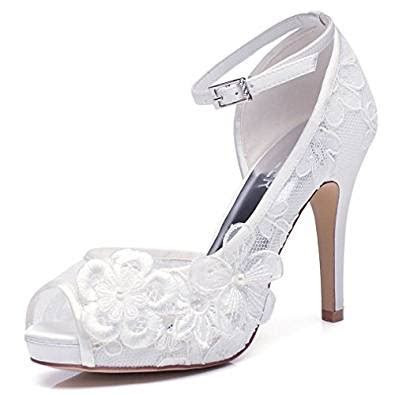 Amazon.com   LUXVEER White Lace Wedding Shoes for Bridal