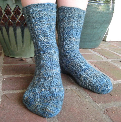 Mock Cable Wave Socks by you.
