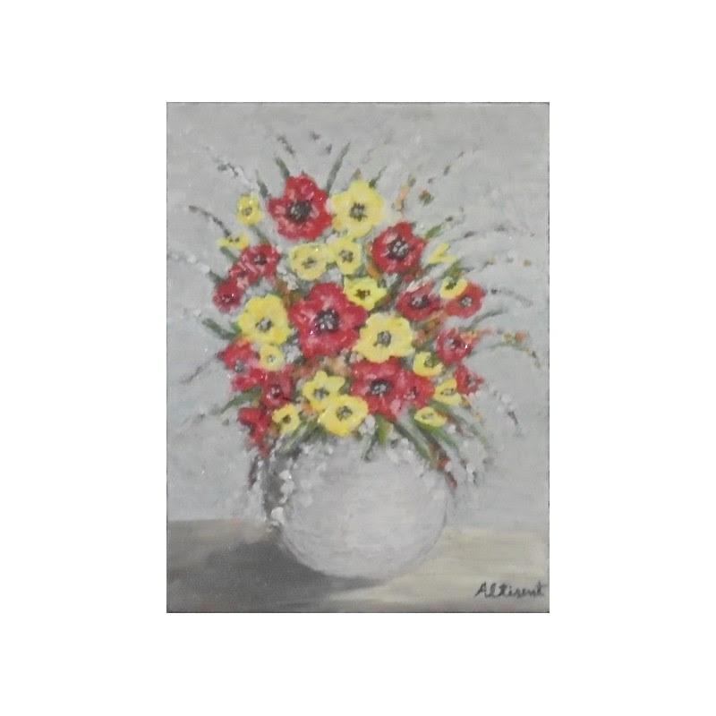 Jarron Blanco Flores Rojas Blancas Amarillas